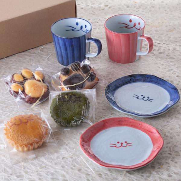 ぎゅぎゅっと、マグ、ペア、食器、焼き菓子、マグカップ、デザート皿、イメージ