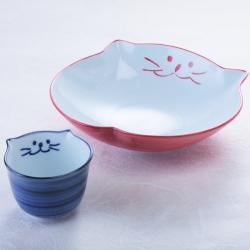 猫食器、中鉢、出汁ちょこ、セット、お中元、青、ピンク