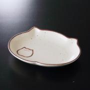 猫食器、レトロ、楕円皿